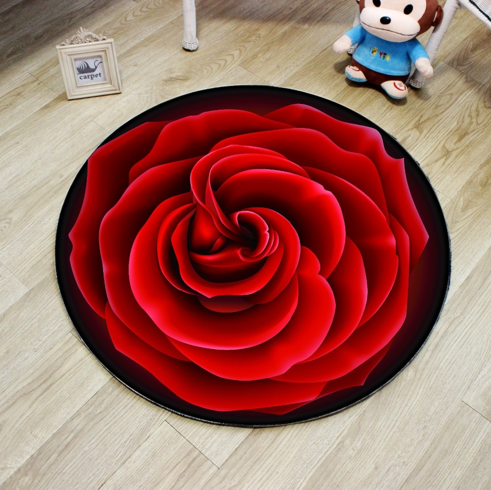 3D Round Carpet Non-slip Cartoon Rose <font><b>Deer</b></font> Fruit Bedroom <font><b>Bathroom</b></font> <font><b>Mat</b></font> Living Room Parlor Chair Rugs Classic Decorate Carpet image