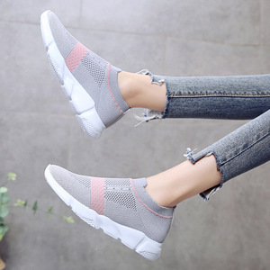 Image 4 - Women Vulcanized Shoes Fashion Sneakers Slip On Sock Shoes Summer Female Knitted Trainers Ladies Casual Shoes Tenis Feminino
