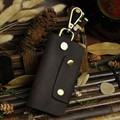 Key Bag Men's& Women's Genuine Leather Key Case Chains Holder Buckle Closure Fashion Key bag