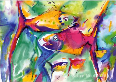 Painting for childern room COLORFUL FISH modern wall art Hand painted High qualityPainting for childern room COLORFUL FISH modern wall art Hand painted High quality