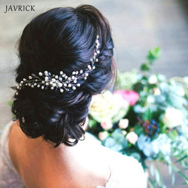 JAVRICK Bride Pearl Hair Comb Wedding Headwear Handmade Pearl Bridal Women Jewelry Hair Jewelry Accessories Handmade Flower Head