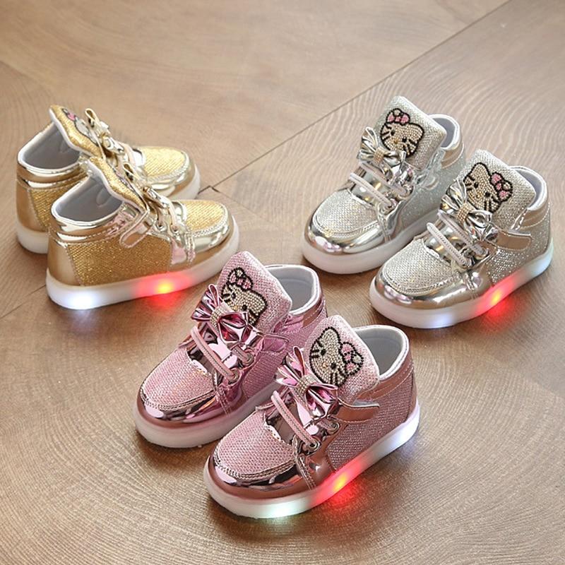 Baby LED Light Shoes Kitty Cat Diamond Princess Girl Sports Shoes Cartoon Sneakers Korean Children High Top Boots Kids Gift #E