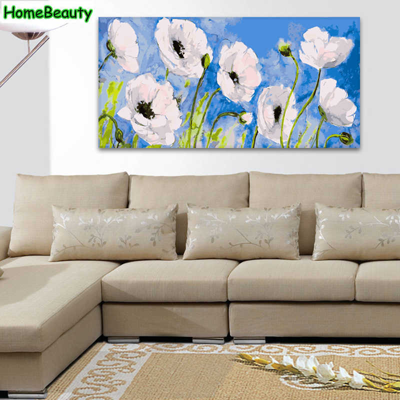 Home Beauty 50*100 diy oil picture by numbers white flowers modular canvas painting coloring by number for living room DY03