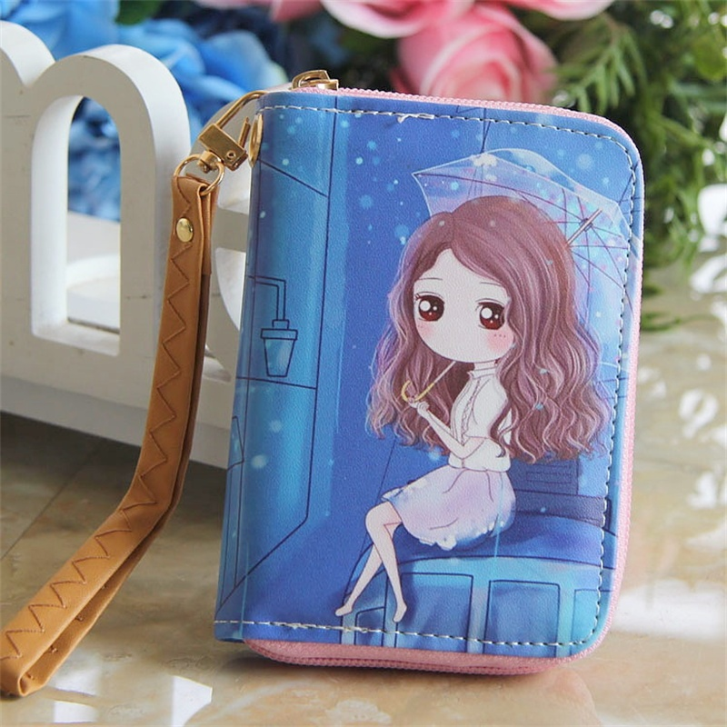 Cartoon Wallet Women Girls Top Quality Small Wallet Leather Purse Female Money Bag With Hand Strap Small Zipper Coin Pocket