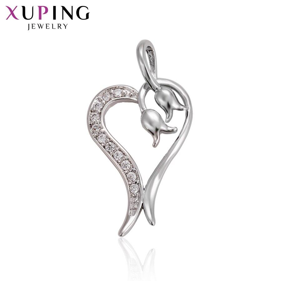 11,11 сделок Xuping Мода Сердце Форма кулон с белый синтетический CZ Лидер продаж для девочек подарок на день Святого Валентина ювелирные изделия ...