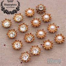 50PCS 15mm Golden Flower Crystal Rhinestone/Pearl Plastic Flatback Button Decoration Sewing Craft Scrapbook Accessories(China)