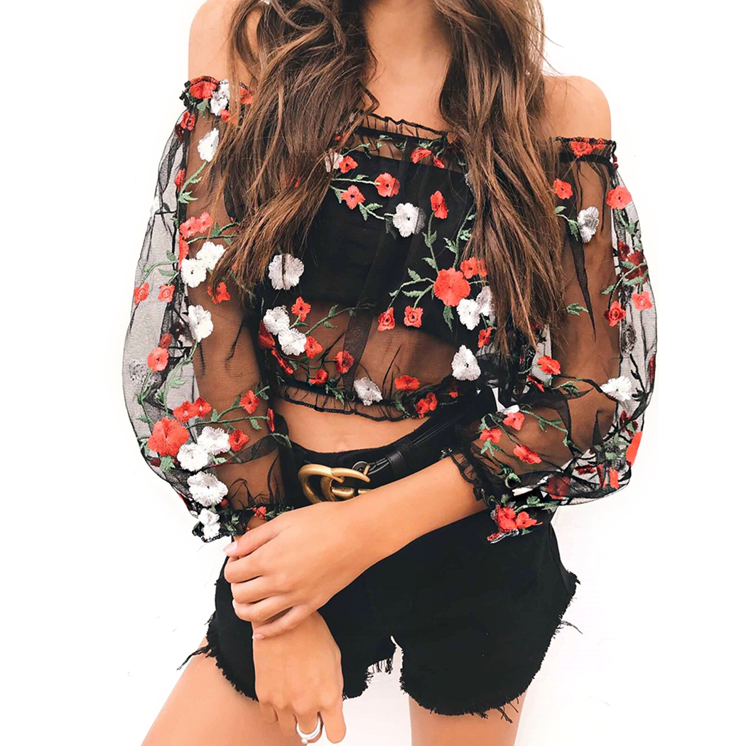 Sexy Off Shoulder Mesh Sheer Crop Tops Women Floral Embroidery See Through   T     Shirt   Cropped 2018 Summer Perspective Tshirt Blusas