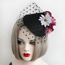 2016 New Ladies Deluxe Flower Black Mesh Fascinator Hat Elegant Girl Party Hairclips Party Headwear Hat