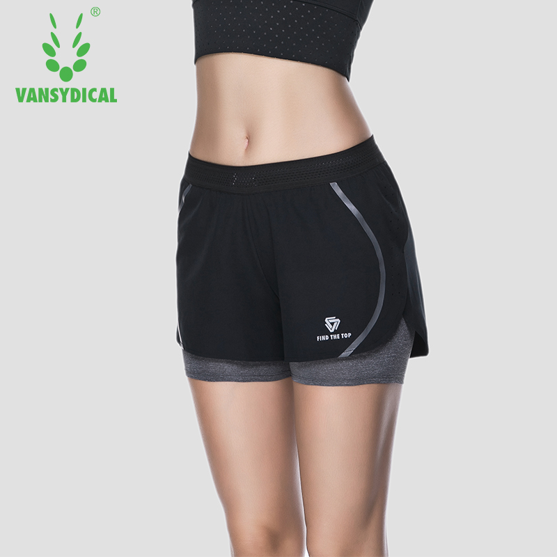 Women Sports Shorts Running Yoga Fitness Workout Gym Double Layer Stretch Breathable Bottoms Vansydical deweyer yoga rally belt men ladies fitness stretch stretch force strength striped grass green 18 lbs
