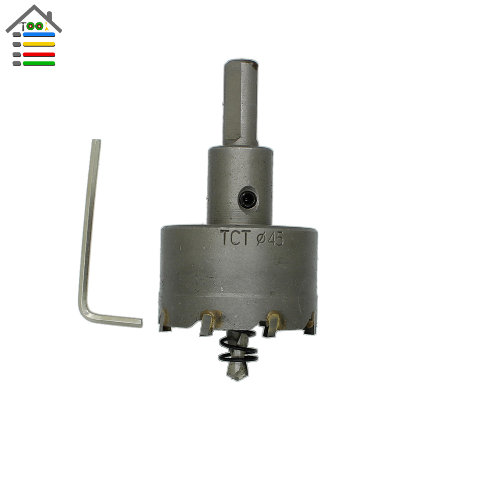 New 45mm Tungsten Carbide Steel Tipped TCT Drill Bit Metal Cutter Hole Saw Metal Drilling Set Tool Accessories