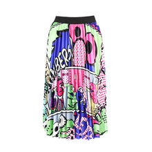 Cartoon Print Fashion Skirt High Waist Women Elastic Spring Pleated Long Skirts Female