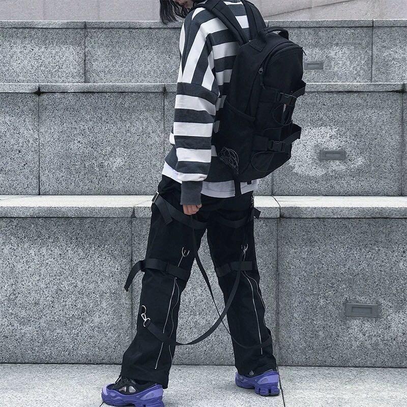 Streetwear Rock Loose Cargo Pants Women Zipper Ribbons Elastic Waist Hip Hop Dancing Pants