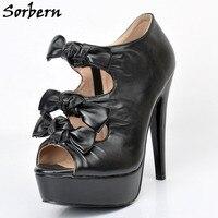 Sorbern Black Bowknot Front Women Shoes 2017 Black Platform Heels Size 12 Womens Heels Open Toe