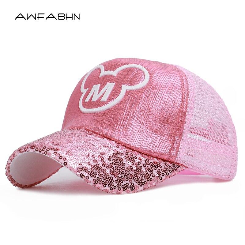 2019 Pink   Baseball     Cap   Children Mesh Snapback Summer   Cap   Cartoon Mickey Lovely Sun Hat Casquette Hip Hop Hat For Boys Girls