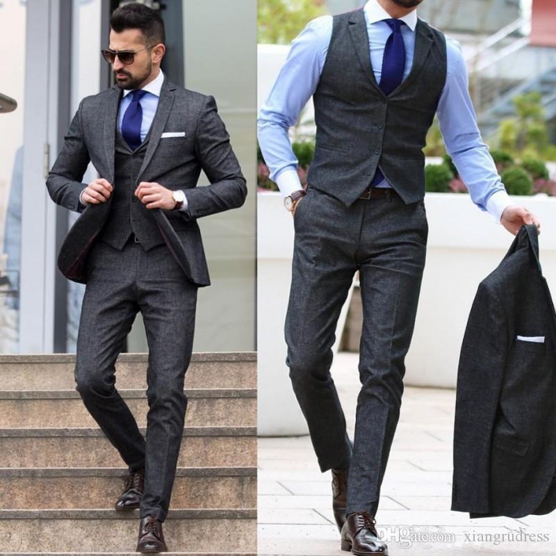 large assortment fashion style top-rated fashion 3 Piece Tweed Suit Men Blazer Formal Wedding Men Suit Pants Vest Slim Fit  Prom Jacket Smart Casual Tuxedo Costume Homme Mariage