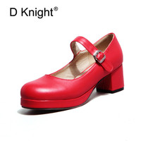 Big Size 33 43 Lolita Shoes 2018 Spring Womens Pumps Buckle Strap Thick High Heels Round Toe Fashion Ladies Pumps Wedding Shoes