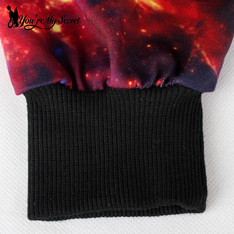 [Youre My Secret]Fashion Women Hoodies O-Neck Long Sleeve 3D Printed Women Sweatshirts With Cosmic Red Galaxy Space Suit Size M