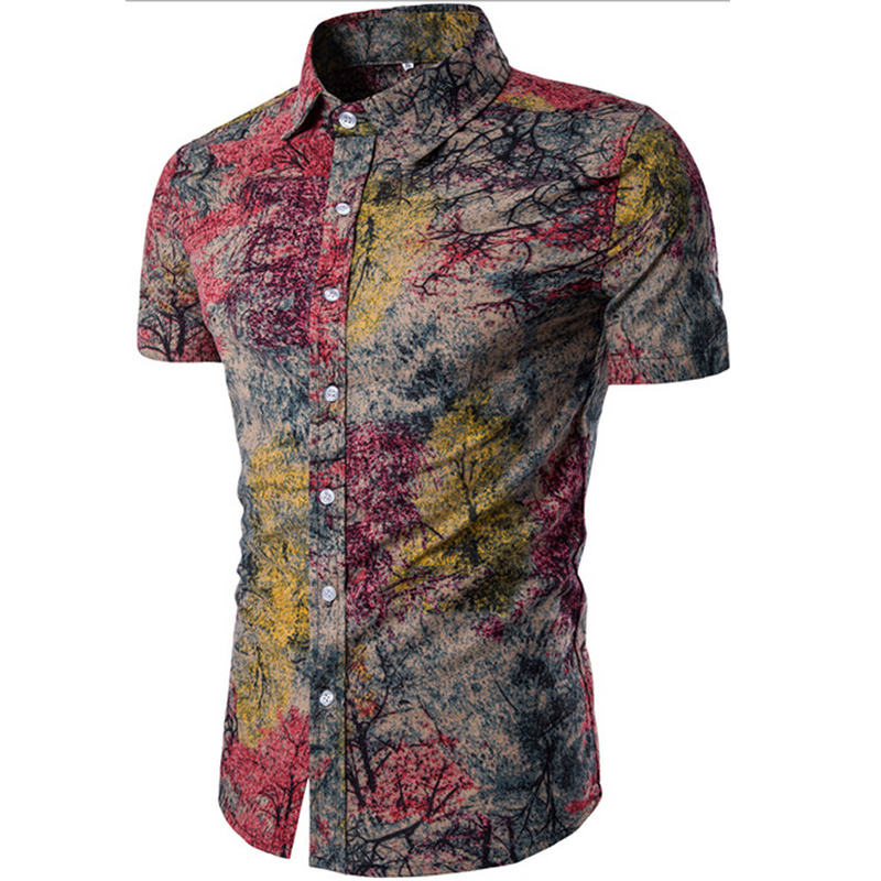 Dress Shirts Printed Fine-Linen Short-Sleeved Casual Mens Cotton Summer New-Fashion