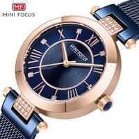 MINIFOCUS Wrist Watch Women Fashion Blue Stainless Steel Quartz Watches Bracelet Clock Relogio Feminino Luxury Ladies Watches