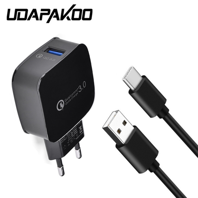 For xiaomi mi5 mi6 Quick Charge 3.0 EU plug USB adapter Fast Charger & 1M Type C usb cable for Samsung Galaxy s8 note 8 LG G5 G6