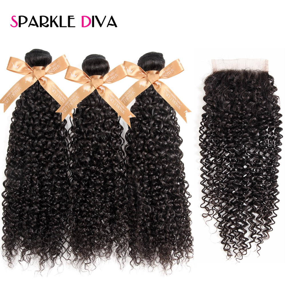 Sparkle Diva Malaysian Kinky Curly Bundles Human Hair Weave 3 Bundles With Closure Free Part Lace