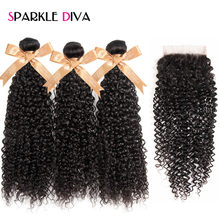 Sparkle Diva Malaysian Kinky Curly Bundles Human Hair Weave 3 Bundles With Closure Free Part Lace Closure With Bundles Non Remy(China)