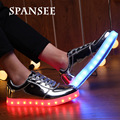 Size 35-45 Fashion LED Shoes with Light Up Sneakers Boys Girls Shoes for Kids Luminous Glowing Shoes Basket Femme LED Slippers