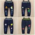 Pantalones de los bebés de invierno 2016 nuevo estilo de los pantalones vaqueros calientes para 9 12 18 24 meses los bebés promoción b040