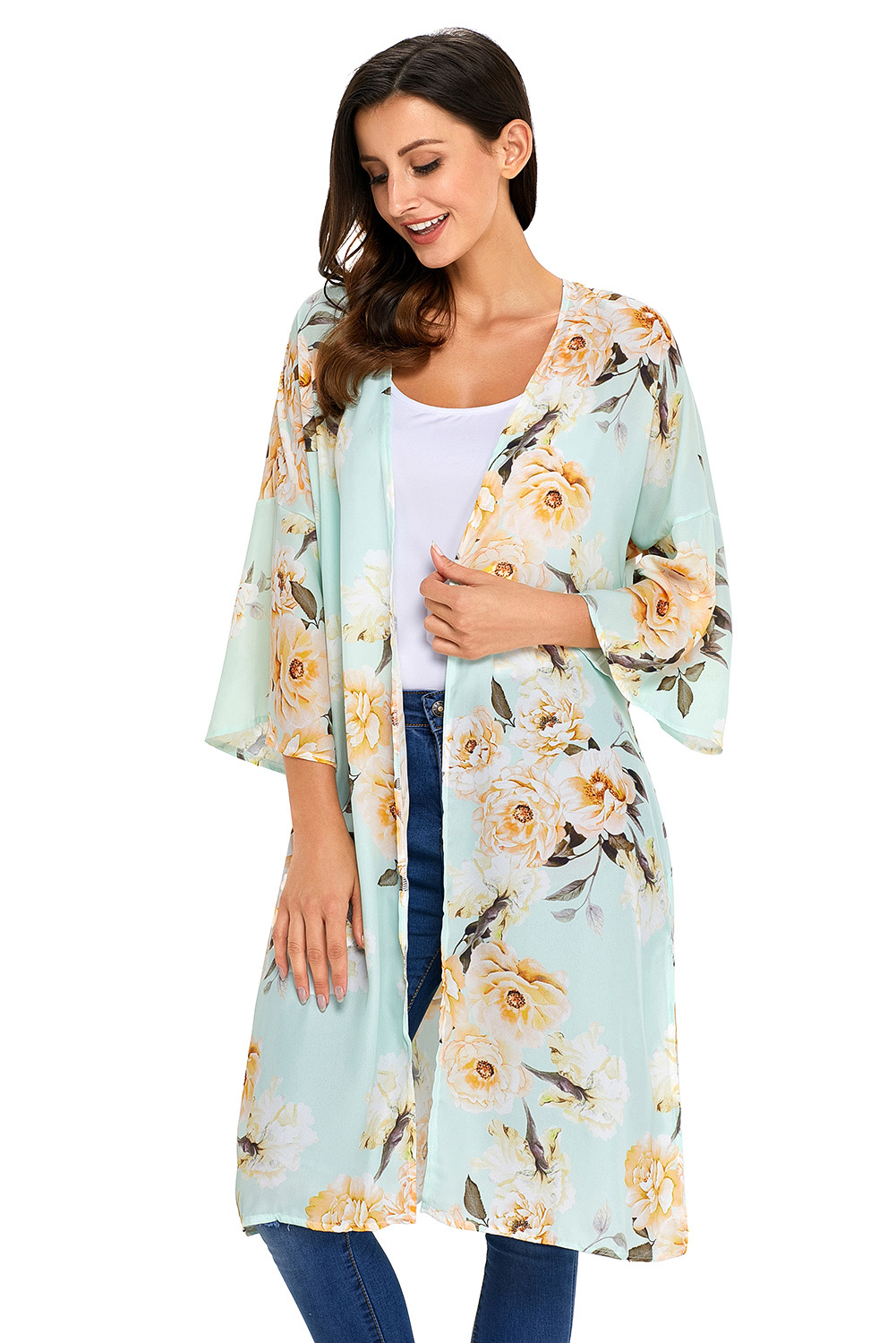 Stylish Floral Printed Side Slit Kaftan Tunic Women Bathingsuit BeachWear Blouse Swimsuit Skirted For Summer