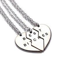 LOULEUR 3 Pcs/Set BFF Split Heart Best Bitches For Friends Girlfriends Combination Vintage Pendants Necklaces Drop Shipping