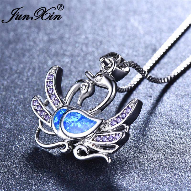 JUNXIN милый двойной лебедь кулон сине-белые огненный опал Ожерелья Для женщин 925 пробы серебро заполнено лиловые кристаллы циркония колье