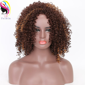 Image 4 - Feibin Short Afro Wigs for Black Women Kinky Curly Ombre Blonde Nature Black Synthetic Wigs African 14inches