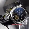 Автоматические Мужские часы parnis ST 2505 с черным циферблатом и датой  43 мм  P412