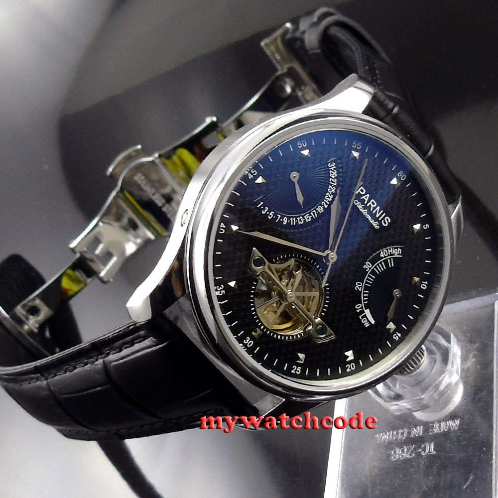 лучшая цена 43mm parnis black dial date power reserve ST 2505 automatic mens watch P412