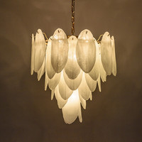 Modern White Glass Chandelier Art Lighting New Fixture Feather Suspension Lamp For Living Room Bedroom Chandelier Lighting H128