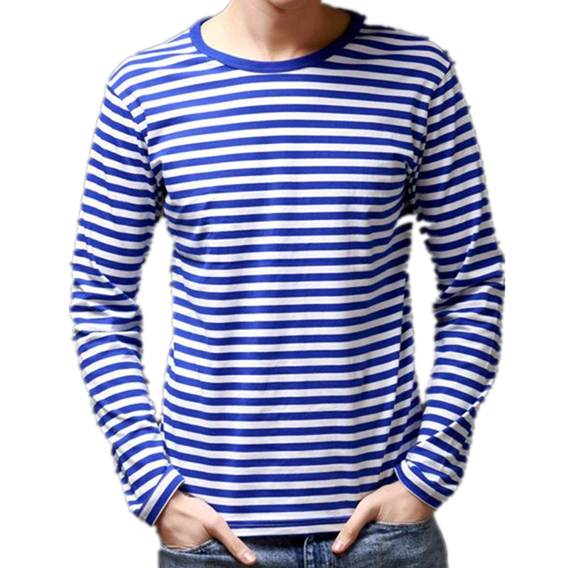 cd87b8e600d 2018 summer new men s fashion casual men s round neck long-sleeved striped  shirt navy sailor