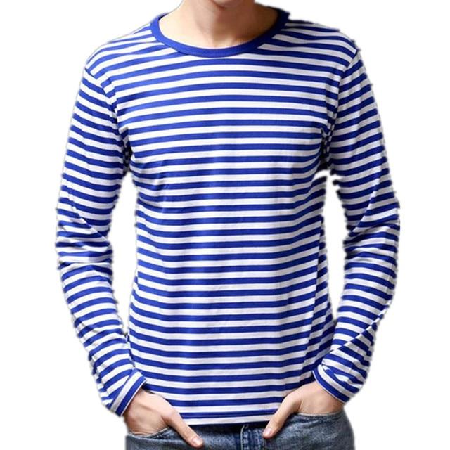 edcd824397a 2018 summer new men s fashion casual men s round neck long-sleeved striped  shirt navy sailor