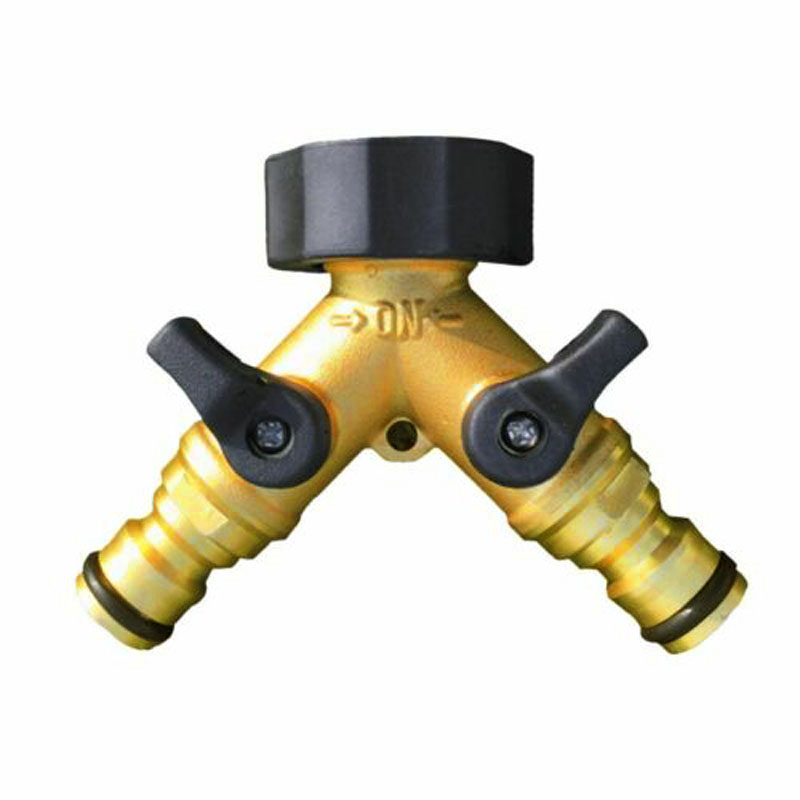 Reusable 2 Way Garden Hose Splitter Brass Connector Valve Water For Lawn Watering Home Garden Supplies in Garden Water Connectors from Home Garden
