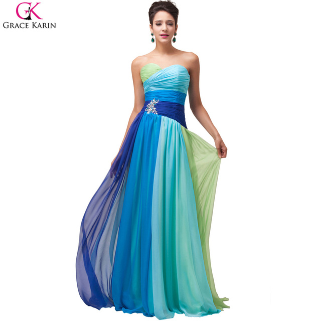 45ed80d3d6a Grace Karin Ombre Rainbow Long Formal Evening Dresses 2017 Vestido De Festa  Beaded Wedding Chiffon Prom
