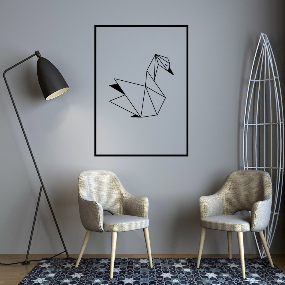 Nordic Geometric SWAN Wall Sticker Wall Decal wallstickers house Decor For Baby Kids Room Decoration Wallpaper Home Mural