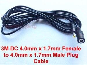 Image 1 - 50ピース電源dc 4.0ミリメートルx 1.7ミリメートルメス4.0ミリメートルx 1.7ミリメートル雄プラグケーブルアダプタ延長コード3メートルフィート電源延長コード