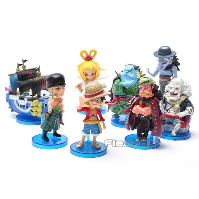 Anime One Piece 8pcs/set Luffy Zoro Jinbe Hordy Jones PVC Figure Toy