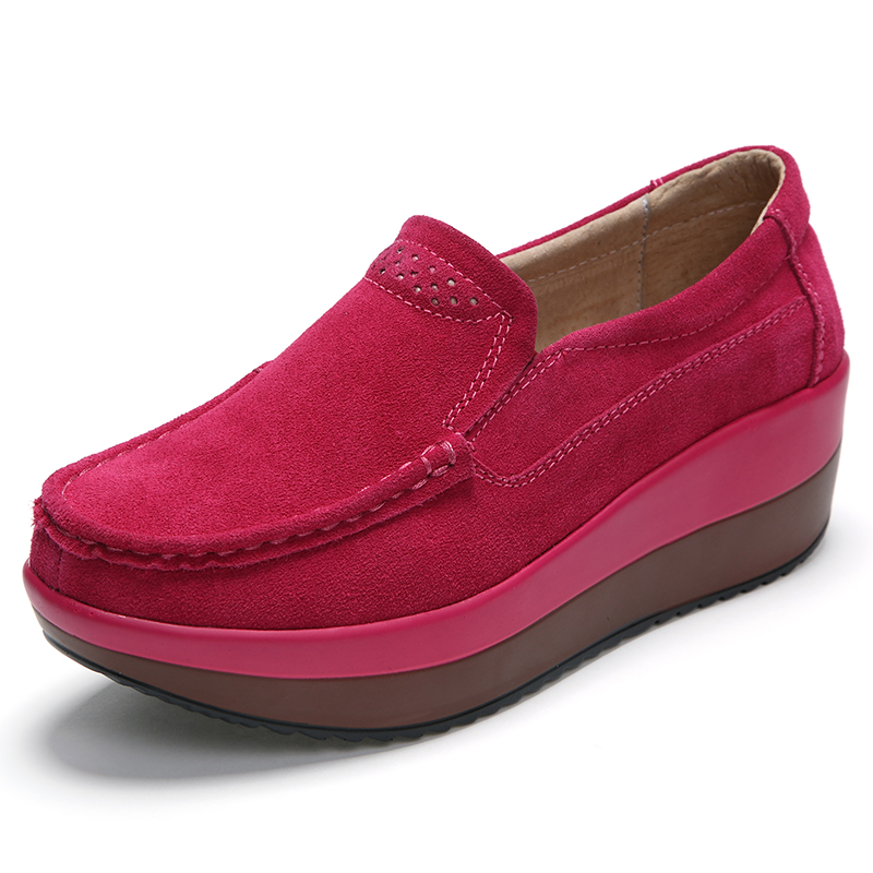 2019 High Quality Spring Women Flats Platform Loafers Shoes Women Red   Leather     Suede   Slip on Casual Moccasins Shoes Zapatos Mujer