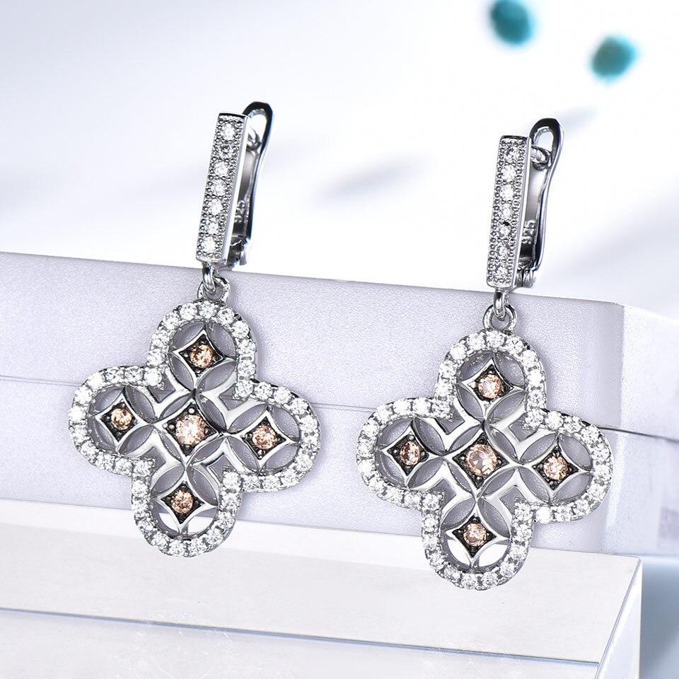 UMCHO jaune Zircon Vintage ensembles de bijoux pour les femmes pendentifs anneaux Clip boucles d'oreilles 925 en argent Sterling fête de mariage cadeau bijoux - 3