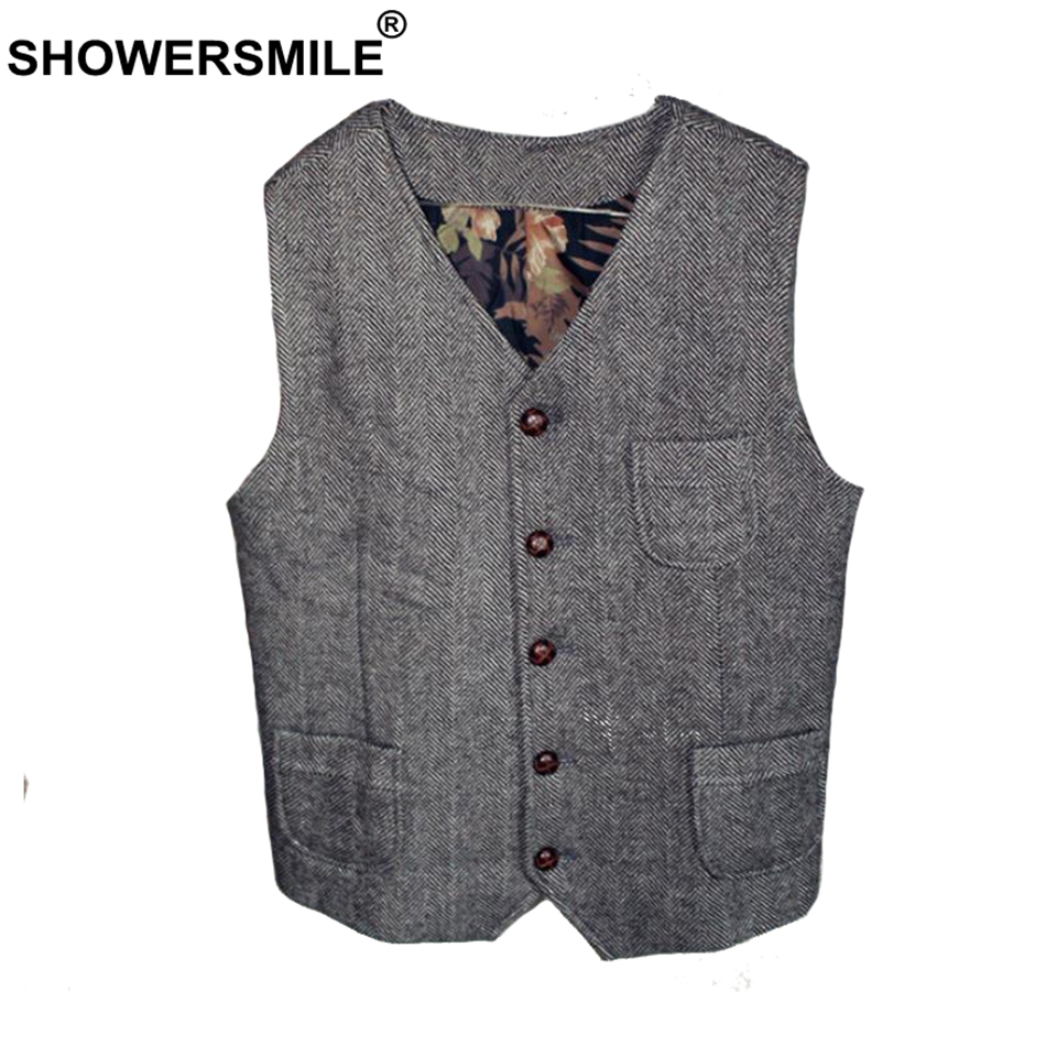 SHOWERSMILE Tweed Waistcoat Men Gray Herringbone Vests Male Vintage Slim Fit Gilet Pockets Autumn Winter Retro Sleeveless Jacket