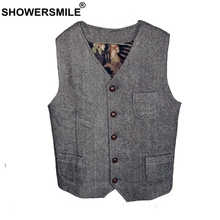 SHOWERSMILE Tweed Waistcoat Men Gray Herringbone Vests Male Vintage Slim Fit Gilet Pockets Autumn Winter Retro Sleeveless Jacket