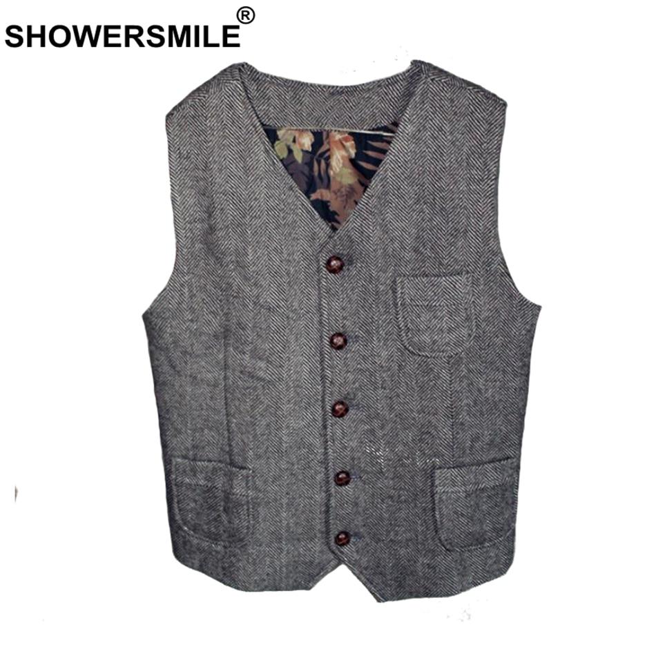 Showersourire Tweed Gilet hommes gris chevrons gilets homme Vintage Slim Fit Gilet poches automne hiver rétro sans manches veste
