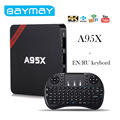 BAYMAY S905X A95X Android TV Box Amlogic Quad core 1 GB/2 GB RAM 8 GB/16 GB ROM de 64 Bits 4 K 2.4 GHz WiFi Media Player Set Top caja
