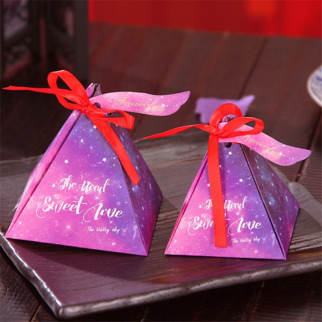 20pcspack Wedding Favors And Gifts Box Sky Blue Red Paper Gift Bag