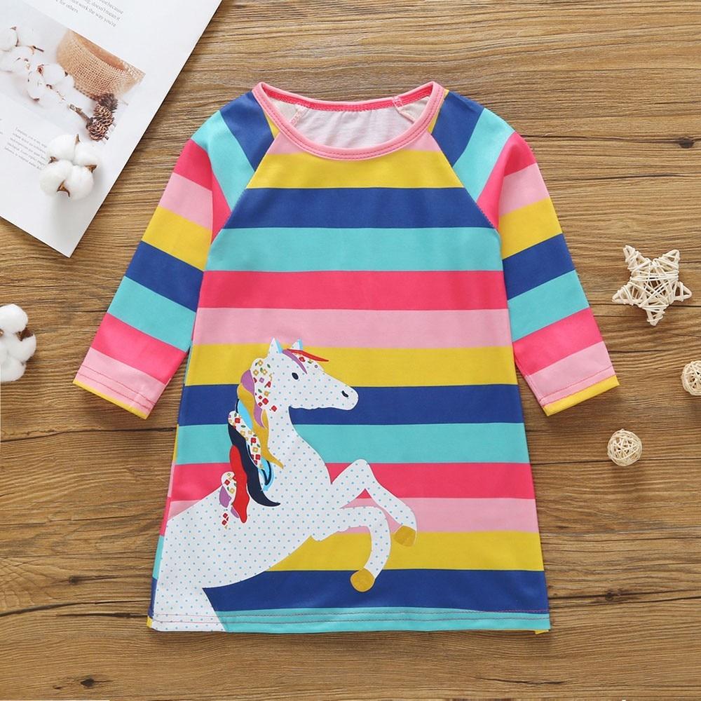 Toddler Kids Baby Girls Infant Horse Animal Cartoon Print Striped Casual Dresses